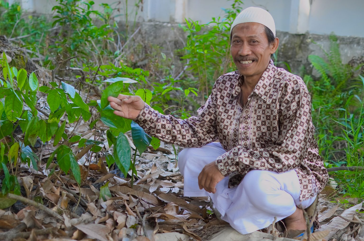 Meet Pak Didin - here next to seedlings at the clinic