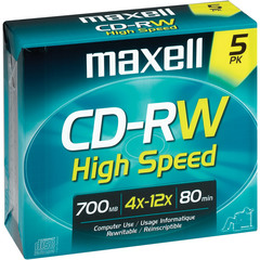 MAXELL CD-RW 700MB / 80MIN 4x-10x High Speed
