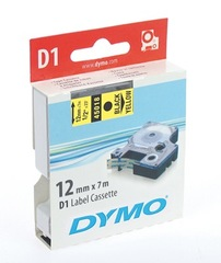 DYMO Label Tape 12MMx7M D1 45018/S0720580 Black/Yellow