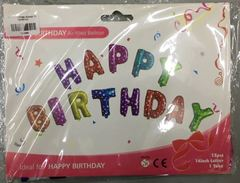 "Happy Birthday Balloon 13 Alphabets 14"" colourful design"""
