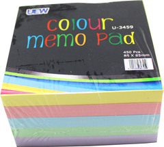 Colour Memo Pad UEW U-3459 85x85mm 450's
