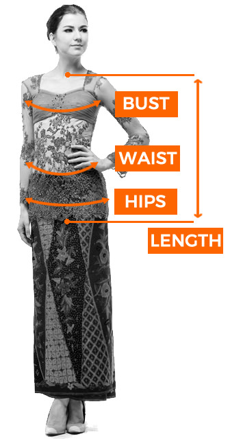 Sizing guide kebaya
