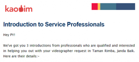 Introductions and quotations to professional videographers, emailed directly to PY.