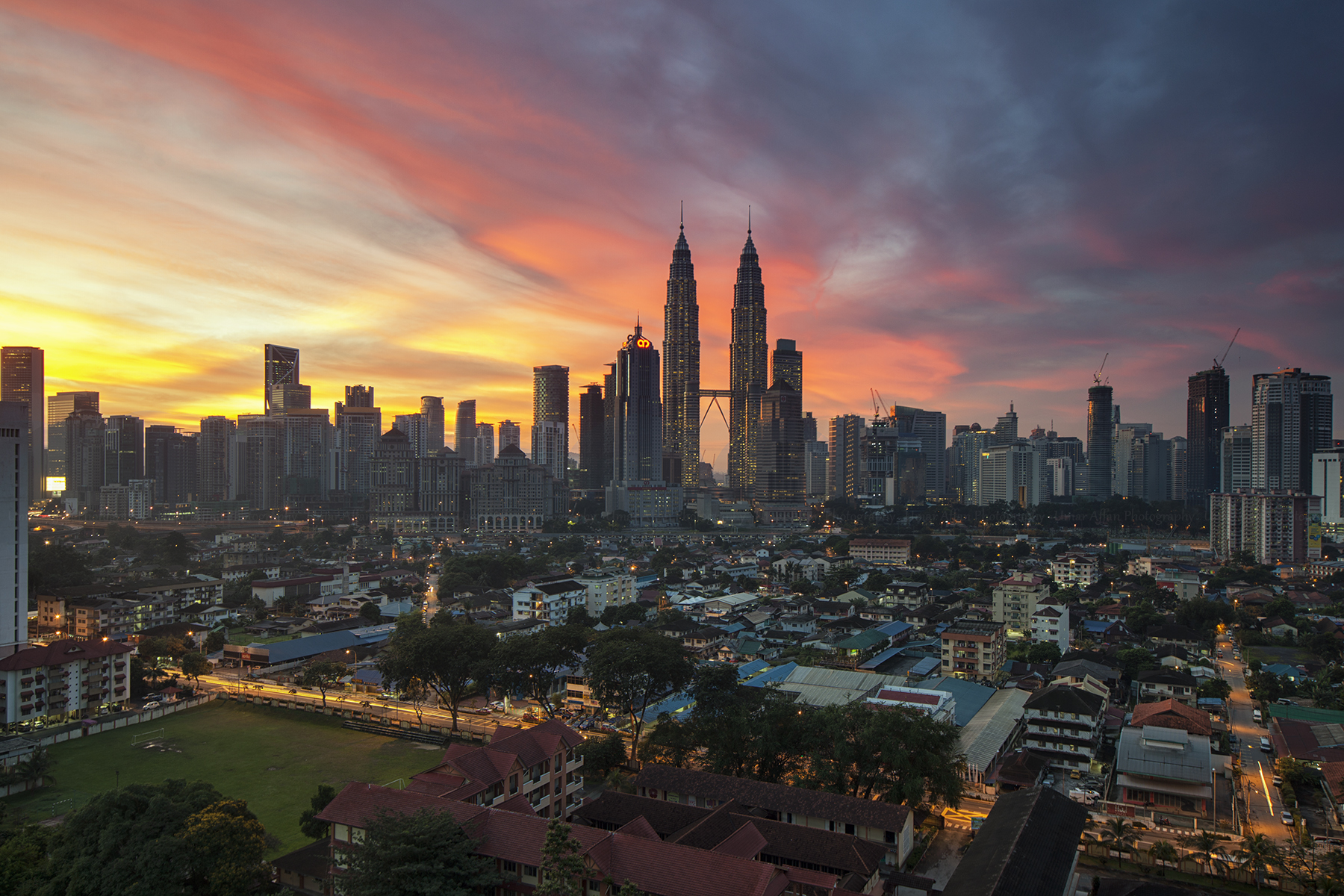 landscape view of the city of kuala lumpur at sunset