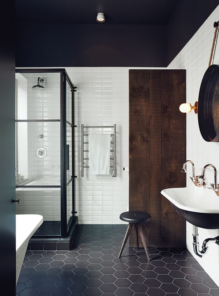 mixed-materials in modern bathroom
