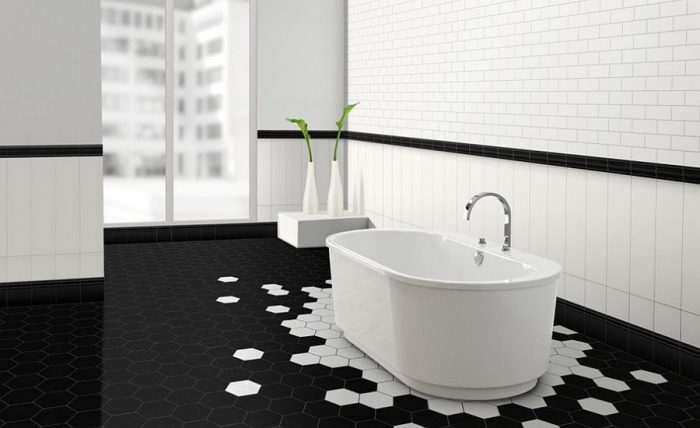 geometric-walls in bathroom