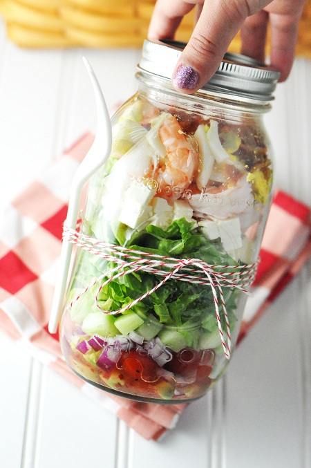 shrimp-salad in a jar
