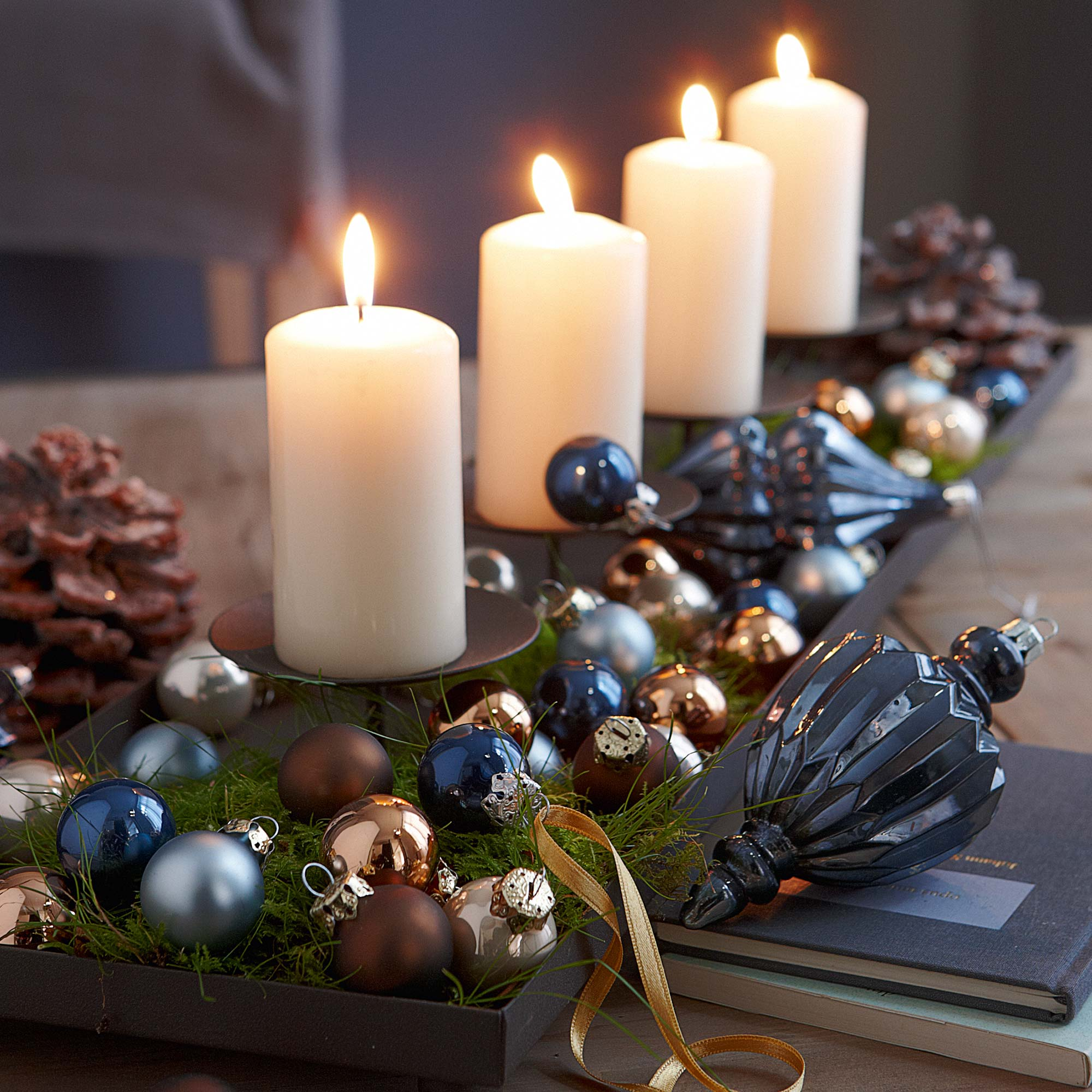 add christmas scented candles - Navy Blue Christmas Decorations
