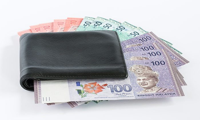 ringgit malaysia in a wallet
