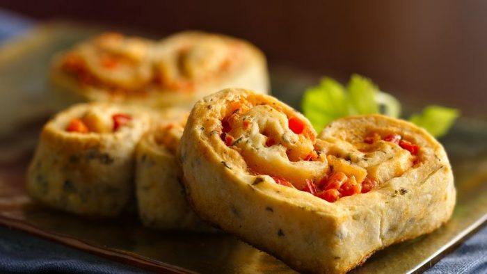red pepper-stuffed appetiser hearts