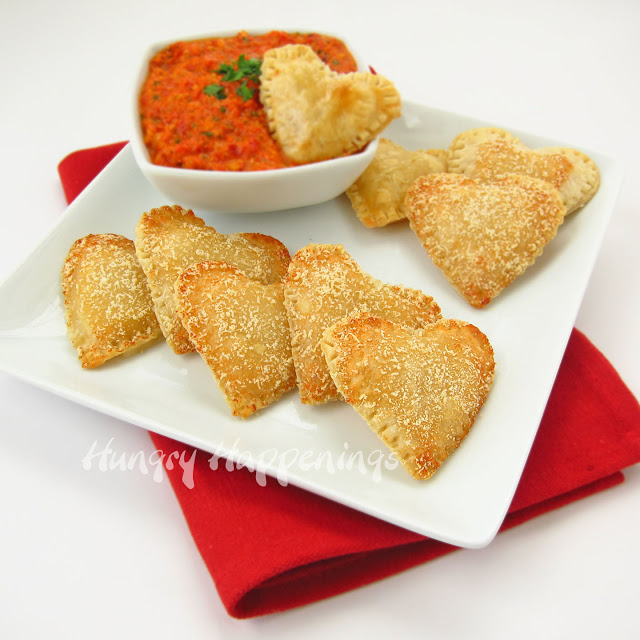 mozarella cheese-filled hearts with roasted red pepper pesto