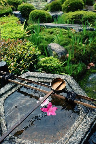 japanese garden with water ladle