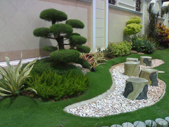 home garden with bonsai and pebbles