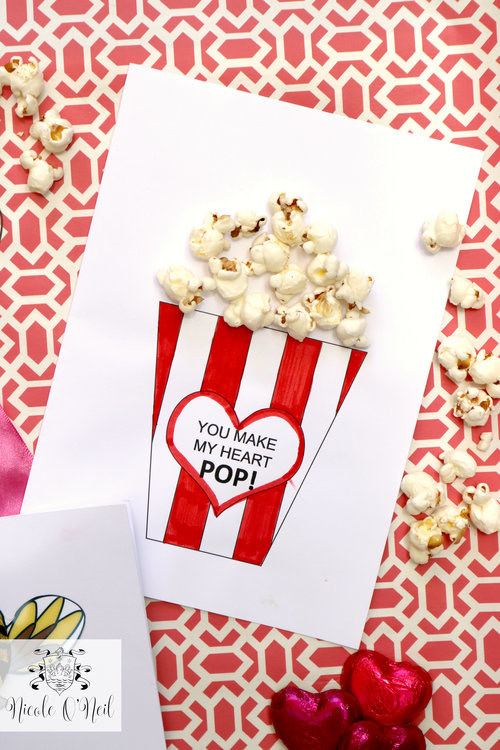 cute popcorn romantic card