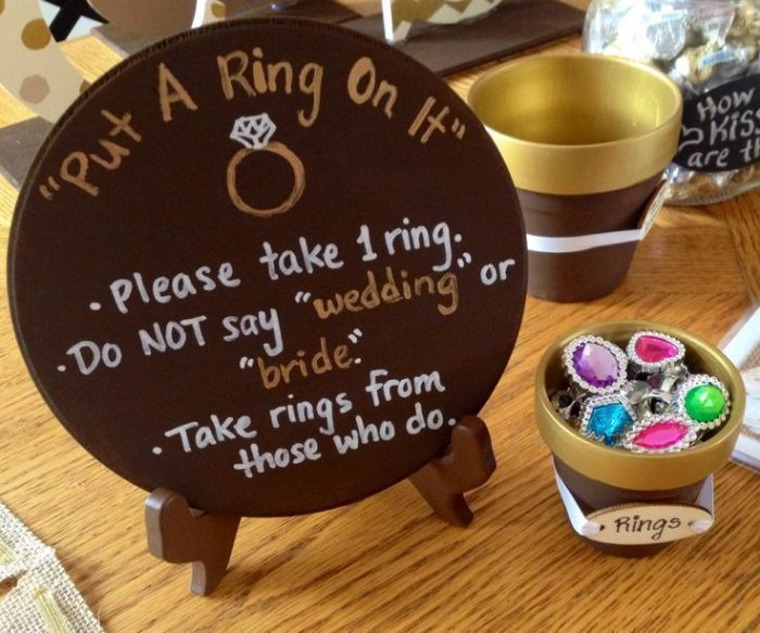Forbidden ring for bridal showers
