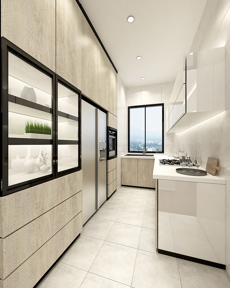 Small Kitchen With Reflective Surfaces: 5 Wonderful Minimalist Designs In Malaysian Homes