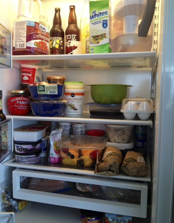 office fridge with food