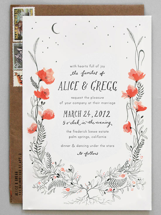 pretty wedding invitation card idea