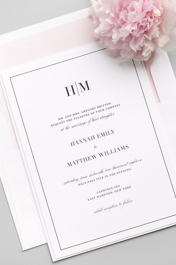 typed wedding card