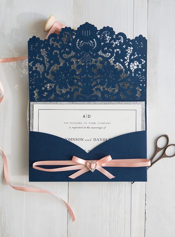 wedding card with lace envelope