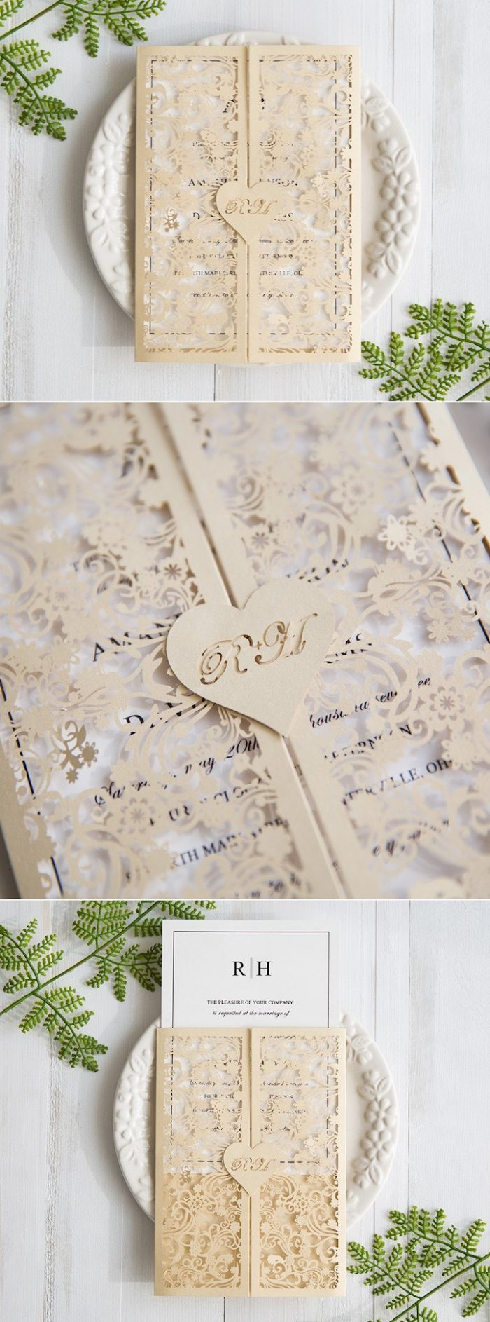 paper cut-out wedding invitation