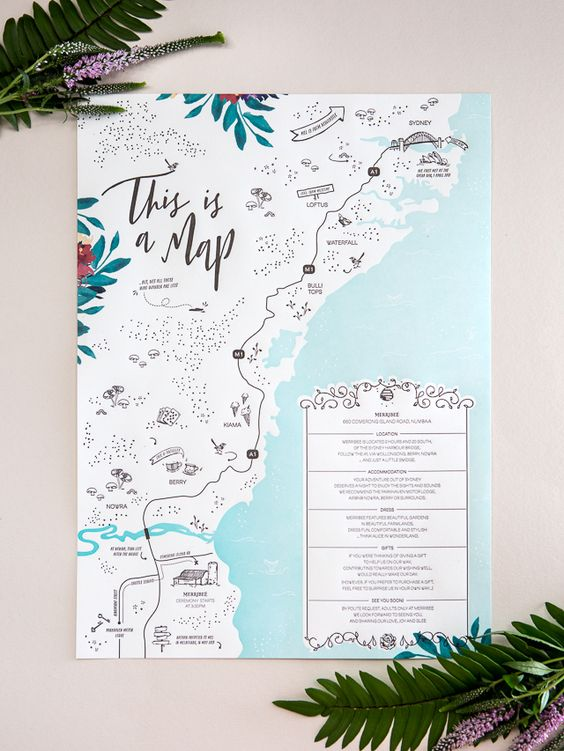 map design wedding card