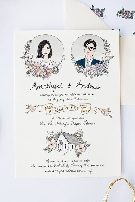 hand-drawn wedding card