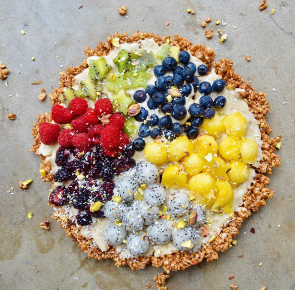 delicious vegan dessert pizza with fruits