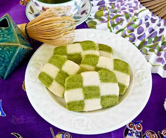 green tea checkerboard cookies