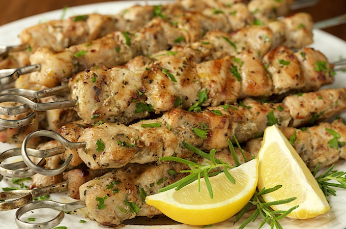 lemon garlic rosemary chicken skewer
