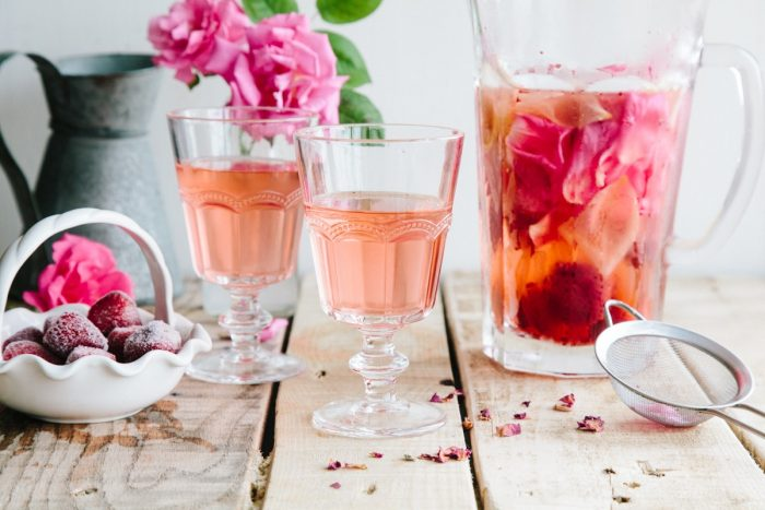 rose strawberry lemon infused water