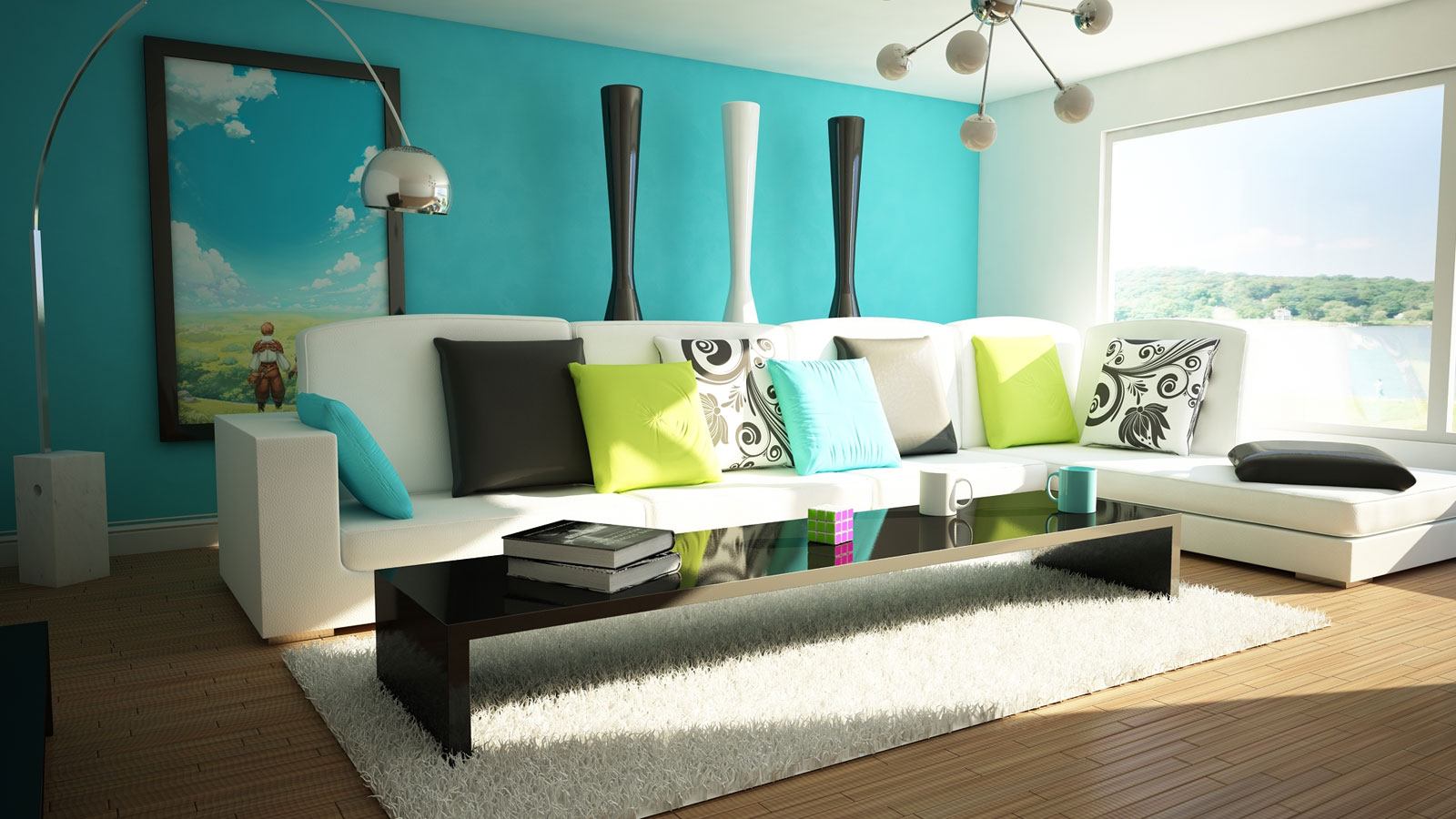 Beautiful, colorful living room