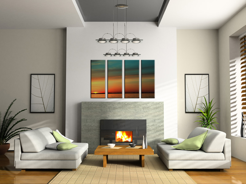 neutral living room with nice artwork