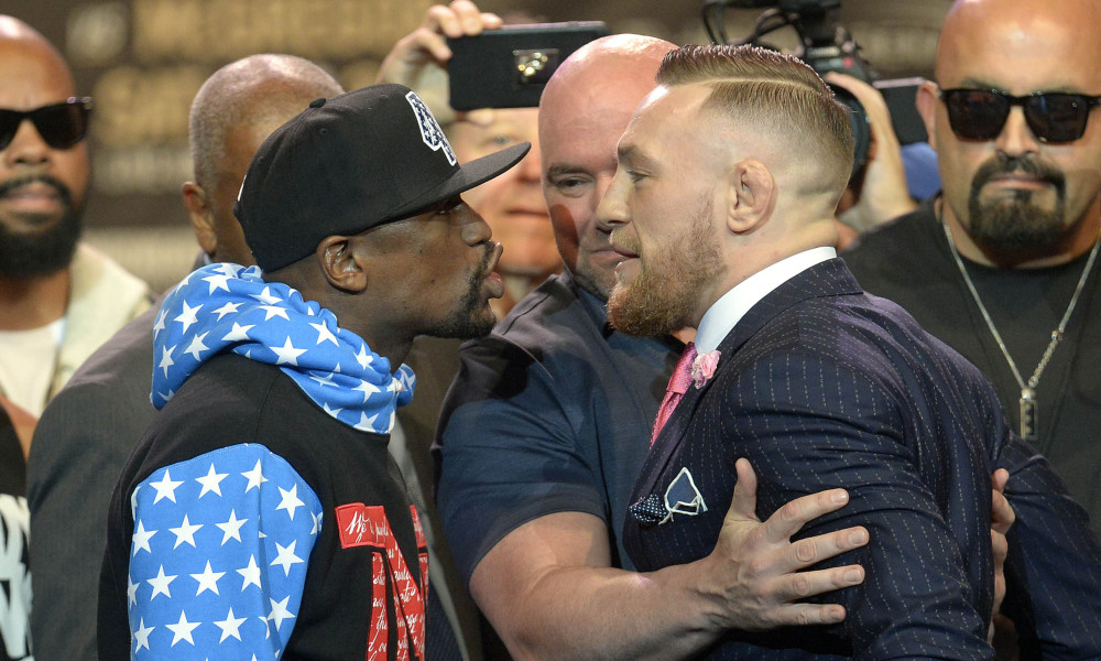 July 11, 2017; Los Angeles, CA, USA; Floyd Mayweather and Conor McGregor meet face to face following the world tour press conference to promote the upcoming Mayweather vs McGregor boxing fight at Staples Center. Mandatory Credit: Gary A. Vasquez-USA TODAY Sports ORG XMIT: USATSI-361805 ORIG FILE ID: 20170711_gav_sv5_009.jpg