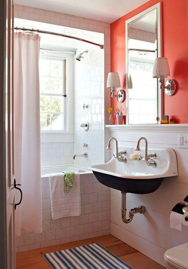 small bathroom bright colour