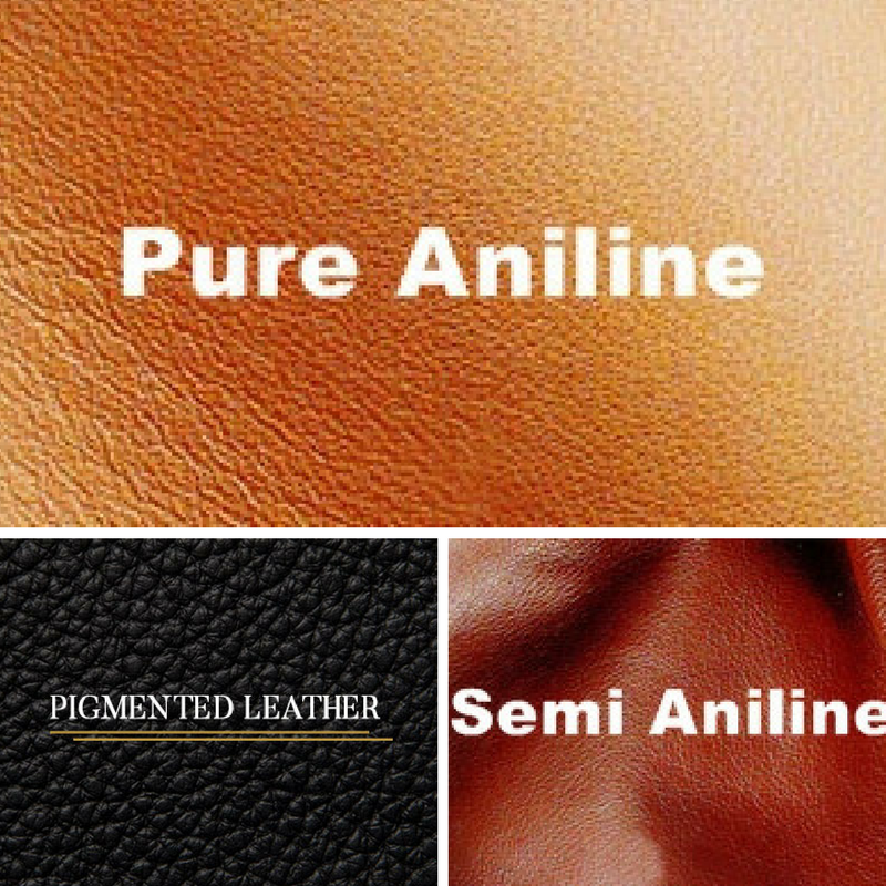 understanding different types of leather - pigmented leather, pure anilene leather and semi anilene