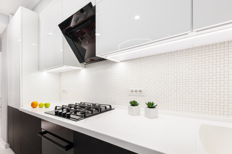 Modern white and black kitchen, minimalistic clean design