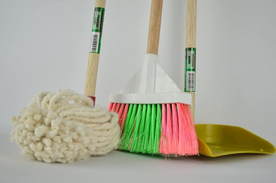 Clean Broom, dustpan, mop, and vacuum.
