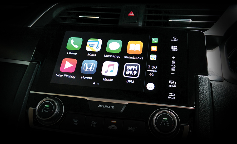 BFM app on Apple CarPlay system (as seen on a Honda car dashboard)