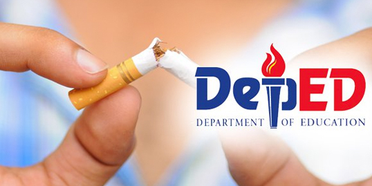 Hands breaking apart a cigarette. DepEd logo on right side of photo.