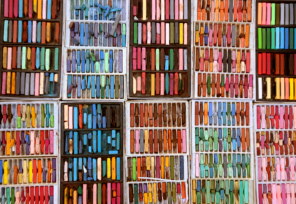 hundreds of oil pastels in multiple colors