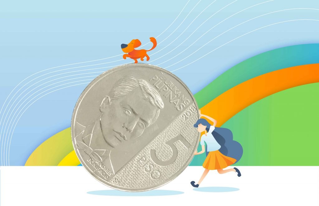 Illustration of a schoolgirl rolling a giant 5-peso coin. A dog balances itself on top of the coin