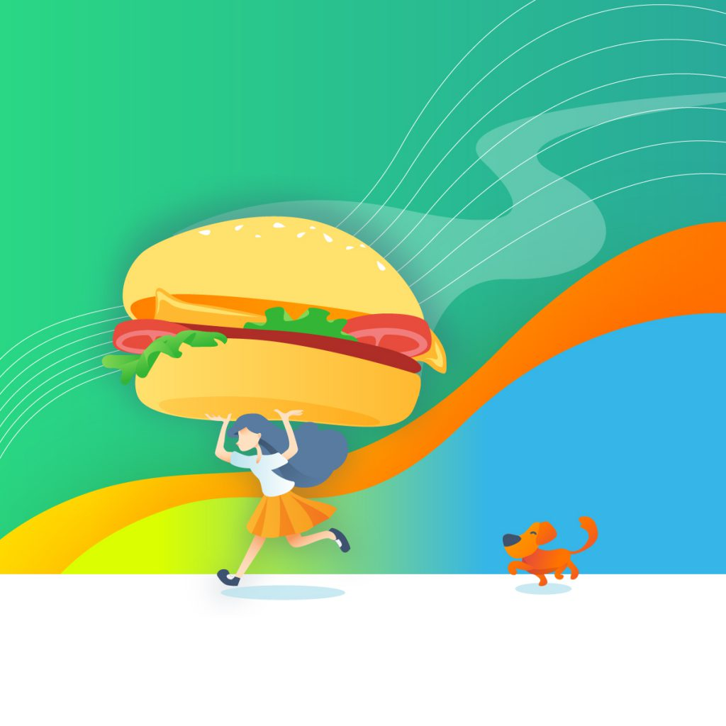 illustration of schoolgirl running while carrying a gigantic burger over her head. A dog trots along behind her