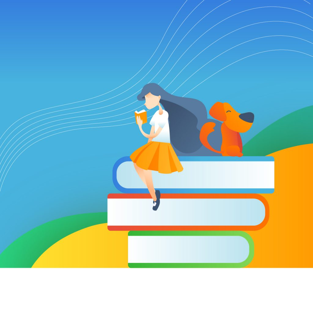 illustration of school girl reading a book while sitting on a gigantic stack of books. A dog sits beside her