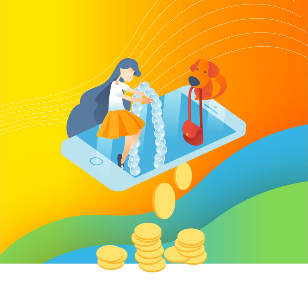 illustration of schoolgirl and dog dropping jewelry and bag into a gigantic phone screen. Coins come out of the other side of the phone