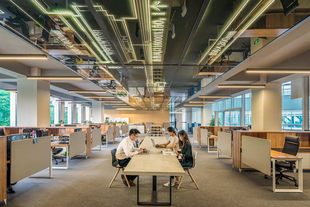 image of people working at a long table inside an office