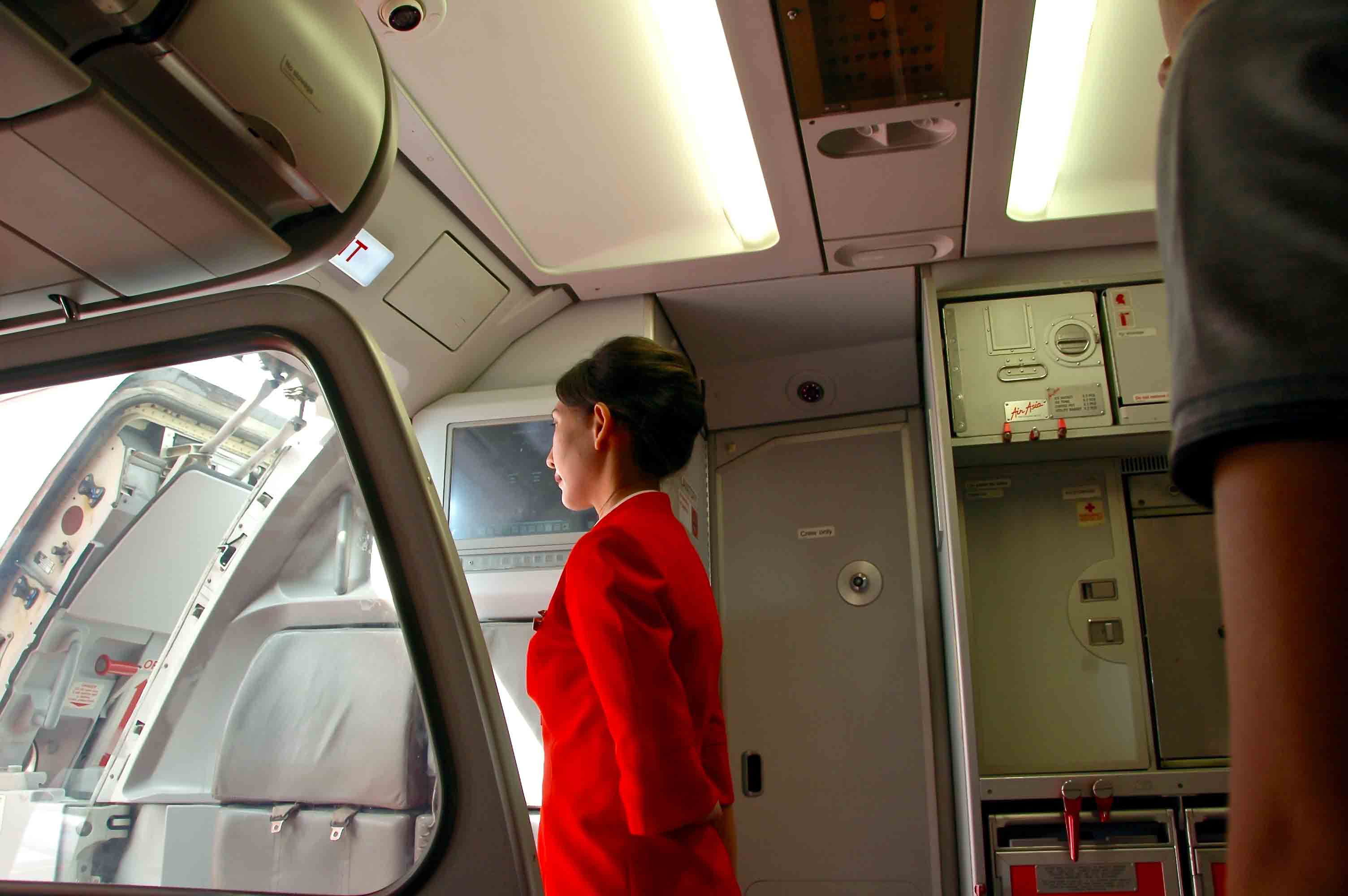 flight attendant standing in front of open airplane door