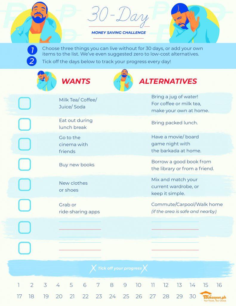 30-day money-saving challenge worksheet