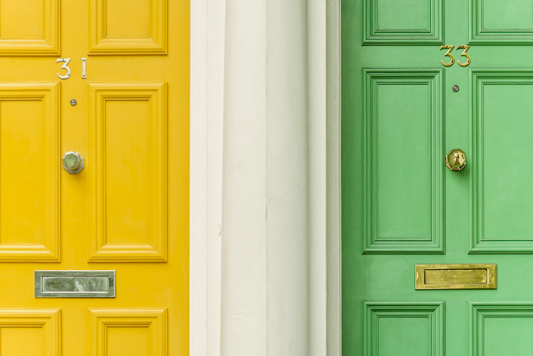 two colored doors