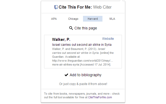 Google Chrome extensions for students: Cite This For Me